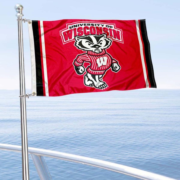 UW Badgers Bucky Badger Boat Flag is 12x18 inches, nylon, offers quadruple stitched flyends for durability, has two metal grommets, and is double sided. Our mini flags for UW Badgers are licensed by the university and NCAA and can be used as a boat flag, motorcycle flag, golf cart flag, or ATV flag.