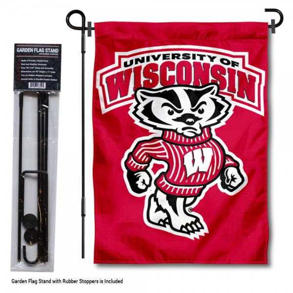 """UW Badgers Bucky Garden Flag and Stand kit includes our 13""""x18"""" garden banner which is made of 2 ply poly with liner and has screen printed licensed logos. Also, a 40""""x17"""" inch garden flag stand is included so your UW Badgers Bucky Garden Flag and Stand is ready to be displayed with no tools needed for setup. Fast Overnight Shipping is offered and the flag is Officially Licensed and Approved by the selected team."""