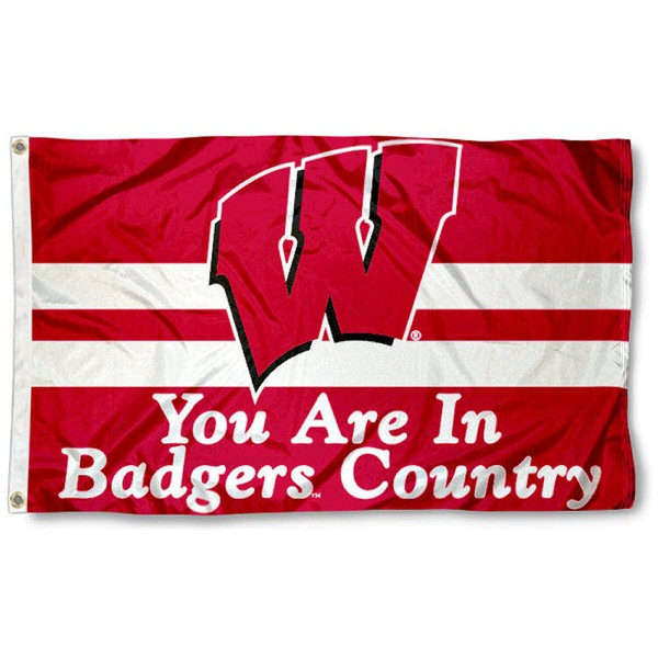 This UW Badgers Country Flag measures 3'x5', is made of 100% nylon, has quad-stitched sewn flyends, and has two-sided UW Badgers Country printed logos. Our UW Badgers Country Flag is officially licensed and all flags for UW Badgers Country are approved by the NCAA and Same Day UPS Express Shipping is available.