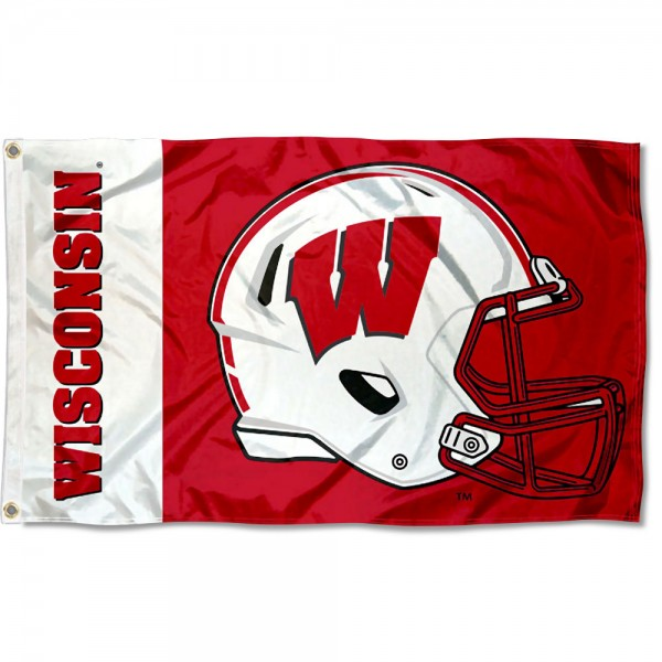UW Badgers Football Helmet Flag measures 3x5 feet, is made of 100% polyester, offers quadruple stitched flyends, has two metal grommets, and offers screen printed NCAA team logos and insignias. Our UW Badgers Football Helmet Flag is officially licensed by the selected university and NCAA.