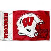 UW Badgers Football Helmet Flag