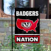 UW Badgers Garden Flag with USA Country Stars and Stripes