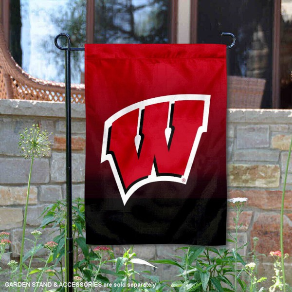 UW Badgers Gradient Ombre Logo Garden Flag is 13x18 inches in size, is made of thick blockout polyester, screen printed university athletic logos and lettering, and is readable and viewable correctly on both sides. Available same day shipping, our UW Badgers Gradient Ombre Logo Garden Flag is officially licensed and approved by the university and the NCAA.