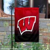 UW Badgers Gradient Ombre Logo Garden Flag