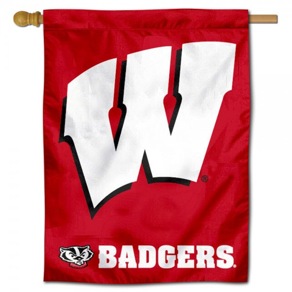"UW Badgers Motion W Banner Flag is constructed of polyester material, is a vertical house flag, measures 30""x40"", offers screen printed athletic insignias, and has a top pole sleeve to hang vertically. Our UW Badgers Motion W Banner Flag is Officially Licensed by University of Wisconsin and NCAA."