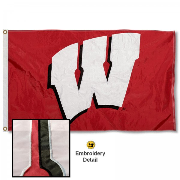 UW Badgers Nylon Embroidered Flag measures 3'x5', is made of 100% nylon, has quadruple flyends, two metal grommets, and has double sided appliqued and embroidered University logos. These UW Badgers 3x5 Flags are officially licensed by the selected university and the NCAA.