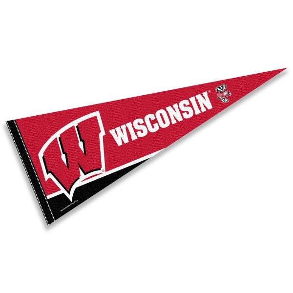 UW Badgers Pennant Flag consists of our full size sports pennant which measures 12x30 inches, is constructed of felt, is single sided imprinted, and offers a pennant sleeve for insertion of a pennant stick, if desired. This UW Badgers Pennant Decorations is Officially Licensed by the selected university and the NCAA.