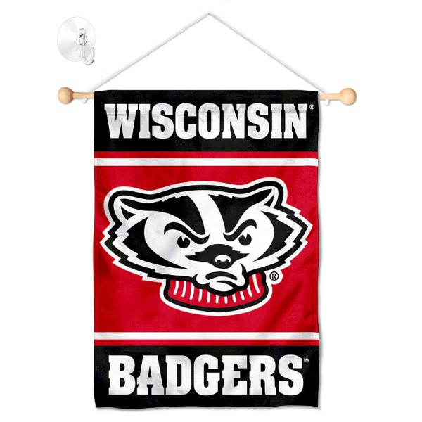 """UW Badgers Window and Wall Banner kit includes our 13""""x18"""" garden banner which is made of 2 ply poly with liner and has screen printed licensed logos. Also, a 17"""" wide banner pole with suction cup is included so your UW Badgers Window and Wall Banner is ready to be displayed with no tools needed for setup. Fast Overnight Shipping is offered and the flag is Officially Licensed and Approved by the selected team."""