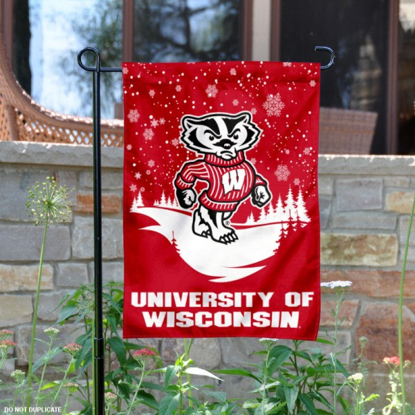 UW Badgers Winter Snowflake Garden Flag is 13x18 inches in size, is made of thick blockout polyester, screen printed university athletic logos and lettering, and is readable and viewable correctly on both sides. Available same day shipping, our UW Badgers Winter Snowflake Garden Flag is officially licensed and approved by the university and the NCAA.