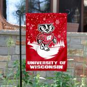 UW Badgers Winter Snowflake Garden Flag