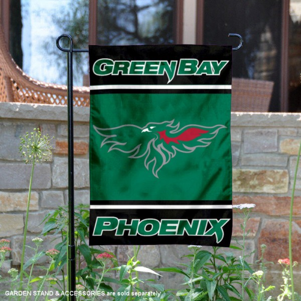 UW Green Bay Phoenix Garden Flag is 13x18 inches in size, is made of 2-layer polyester, screen printed logos and lettering. Available with Same Day Express Shipping, Our UW Green Bay Phoenix Garden Flag is officially licensed and approved by the NCAA.