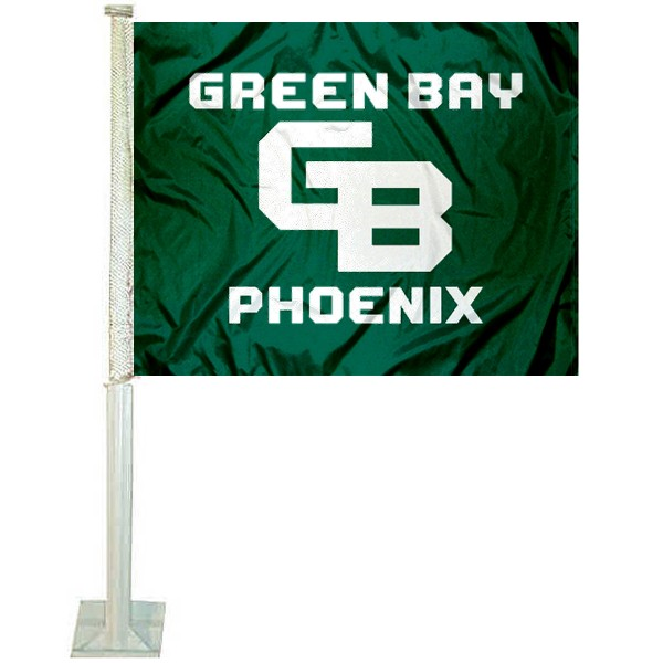 UW Green Bay Phoenix Logo Car Flag measures 12x15 inches, is constructed of sturdy 2 ply polyester, and has screen printed school logos which are readable and viewable correctly on both sides. UW Green Bay Phoenix Logo Car Flag is officially licensed by the NCAA and selected university.