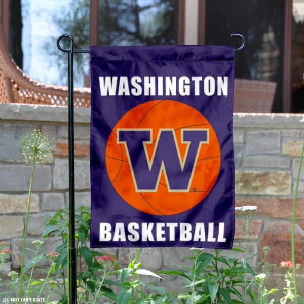 UW Huskies Basketball Garden Banner is 13x18 inches in size, is made of 2-layer polyester, screen printed University of Washington athletic logos and lettering. Available with Same Day Express Shipping, Our UW Huskies Basketball Garden Banner is officially licensed and approved by University of Washington and the NCAA.