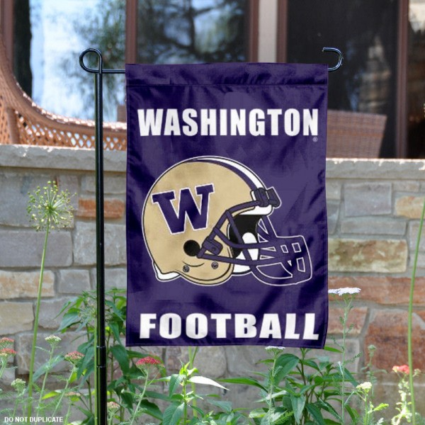 UW Huskies Football Helmet Garden Banner is 13x18 inches in size, is made of 2-layer polyester, screen printed University of Washington athletic logos and lettering. Available with Same Day Express Shipping, Our UW Huskies Football Helmet Garden Banner is officially licensed and approved by University of Washington and the NCAA.
