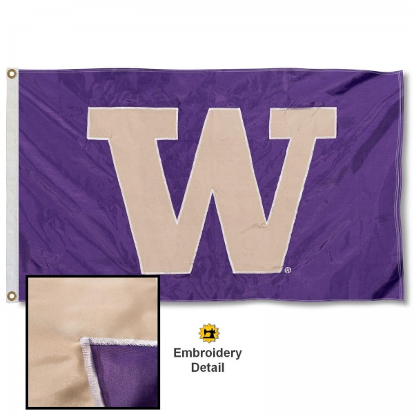 UW Huskies Nylon Embroidered Flag measures 3'x5', is made of 100% nylon, has quadruple flyends, two metal grommets, and has double sided appliqued and embroidered University logos. These UW Huskies 3x5 Flags are officially licensed by the selected university and the NCAA.