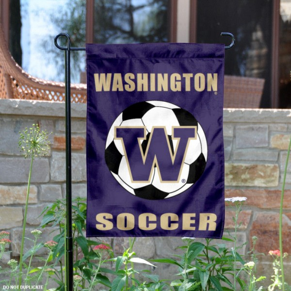 UW Huskies Soccer Yard Flag is 13x18 inches in size, is made of 2-layer polyester, screen printed University of Washington Soccer athletic logos and lettering. Available with Same Day Express Shipping, Our UW Huskies Soccer Yard Flag is officially licensed and approved by University of Washington Soccer and the NCAA.