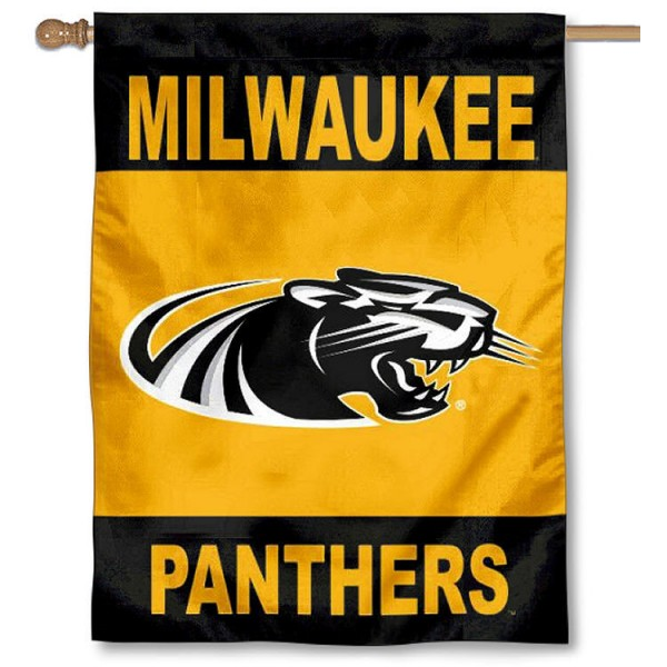 UW Milwaukee Panthers Banner Flag is a vertical house flag which measures 30x40 inches, is made of 2 ply 100% polyester, offers dye sublimated NCAA team insignias, and has a top pole sleeve to hang vertically. Our UW Milwaukee Panthers Banner Flag is officially licensed by the selected university and the NCAA.