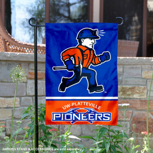 UW Platteville Pioneers Garden Flag is 13x18 inches in size, is made of 2-layer polyester, screen printed logos and lettering. Available with Same Day Express Shipping, Our UW Platteville Pioneers Garden Flag is officially licensed and approved by the NCAA.