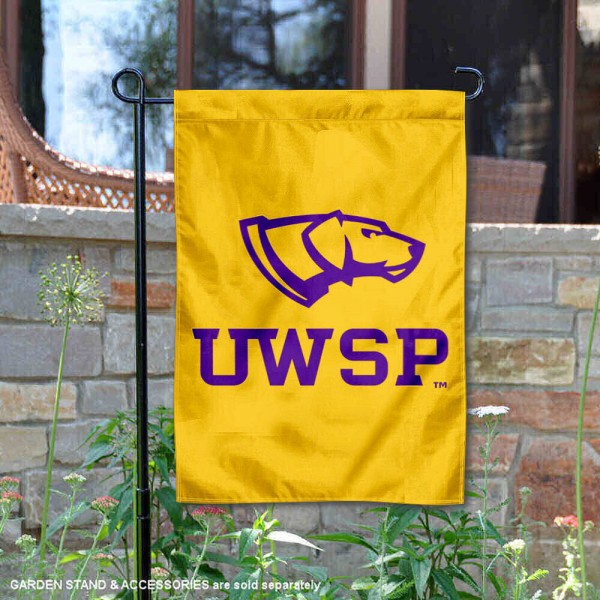 UW Stevens Point Pointers Logo Garden Flag is 13x18 inches in size, is made of 2-layer polyester, screen printed university athletic logos and lettering, and is readable and viewable correctly on both sides. Available same day shipping, our UW Stevens Point Pointers Logo Garden Flag is officially licensed and approved by the university and the NCAA.