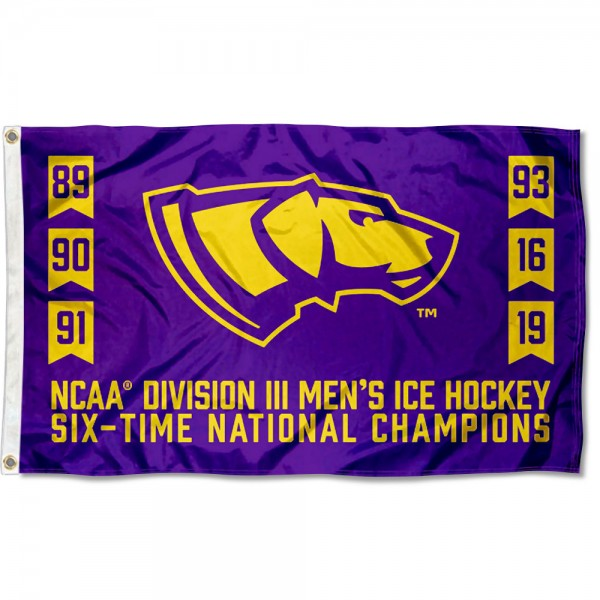 UW Stevens Point Pointers Six-Time Hockey D3 National Champions Flag measures 3x5 feet, is made of 100% polyester, offers quadruple stitched flyends, has two metal grommets, and offers screen printed NCAA team logos and insignias. Our UW Stevens Point Pointers Six-Time Hockey D3 National Champions Flag is officially licensed by the selected university and NCAA.