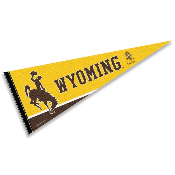 University of Wyoming Decorations measures a full size 12x30 inches, is constructed of felt, is single sided imprinted, and offers a pennant sleeve for insertion of a pennant stick, if desired. This University of Wyoming Decorations is officially licensed by the selected university and the NCAA