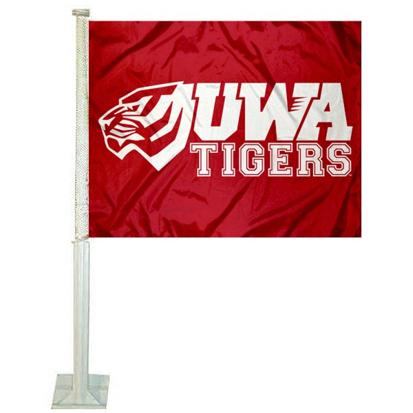 UWA Tigers Car Window Flag measures 12x15 inches, is constructed of sturdy 2 ply polyester, and has screen printed school logos which are readable and viewable correctly on both sides. UWA Tigers Car Window Flag is officially licensed by the NCAA and selected university.
