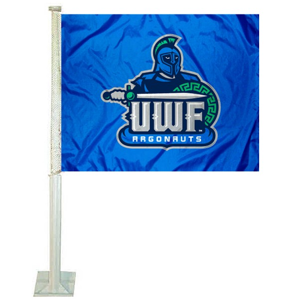 UWF Argonauts Logo Car Flag measures 12x15 inches, is constructed of sturdy 2 ply polyester, and has screen printed school logos which are readable and viewable correctly on both sides. UWF Argonauts Logo Car Flag is officially licensed by the NCAA and selected university.