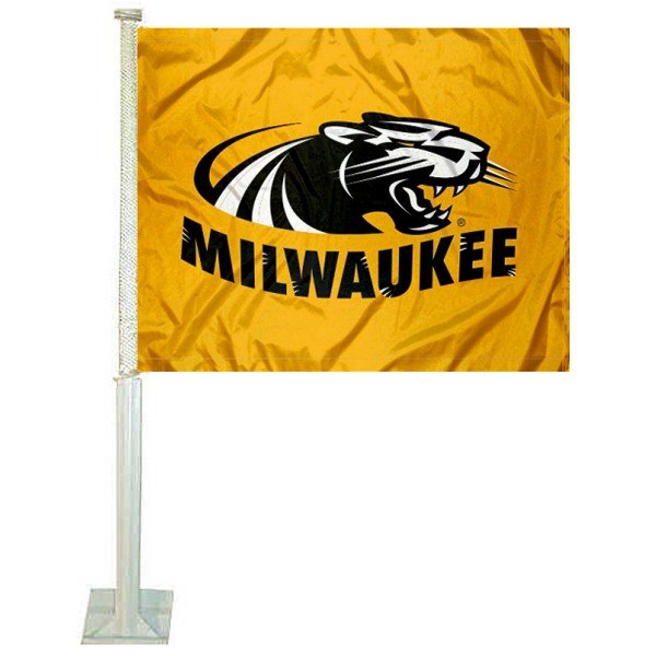 UWM Panthers Car and Auto Flag measures 12x15 inches, is constructed of sturdy 2 ply polyester, and has screen printed school logos which are readable and viewable correctly on both sides. UWM Panthers Car and Auto Flag is officially licensed by the NCAA and selected university.
