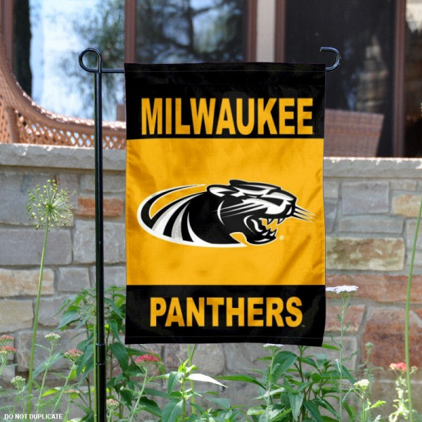 UWM Panthers Garden Flag is 13x18 inches in size, is made of 2-layer polyester, screen printed University of Wisconsin Milwaukee athletic logos and lettering. Available with Same Day Express Shipping, Our UWM Panthers Garden Flag is officially licensed and approved by University of Wisconsin Milwaukee and the NCAA.