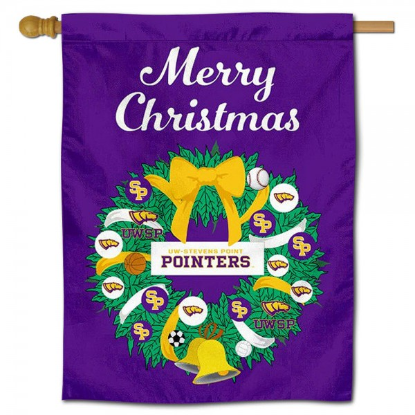 UWSP Pointers Happy Holidays Banner Flag measures 30x40 inches, is made of poly, has a top hanging sleeve, and offers dye sublimated UWSP Pointers logos. This Decorative UWSP Pointers Happy Holidays Banner Flag is officially licensed by the NCAA.