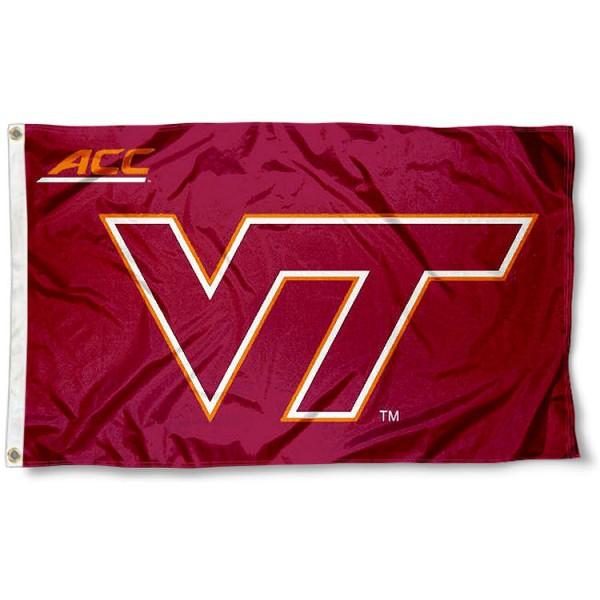 Va Tech Hokies ACC Flag measures 3'x5', is made of 100% poly, has quadruple stitched sewing, two metal grommets, and has double sided Team University logos. Our Va Tech Hokies ACC Flag is officially licensed by the selected university and the NCAA.