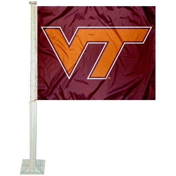 VA Tech Hokies Car Window Flag measures 12x15 inches, is constructed of sturdy 2 ply polyester, and has screen printed school logos which are readable and viewable correctly on both sides. VA Tech Hokies Car Window Flag is officially licensed by the NCAA and selected university.