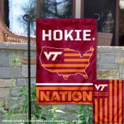 VA Tech Hokies Garden Flag with USA Country Stars and Stripes