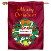 VA Tech Hokies Happy Holidays Banner Flag