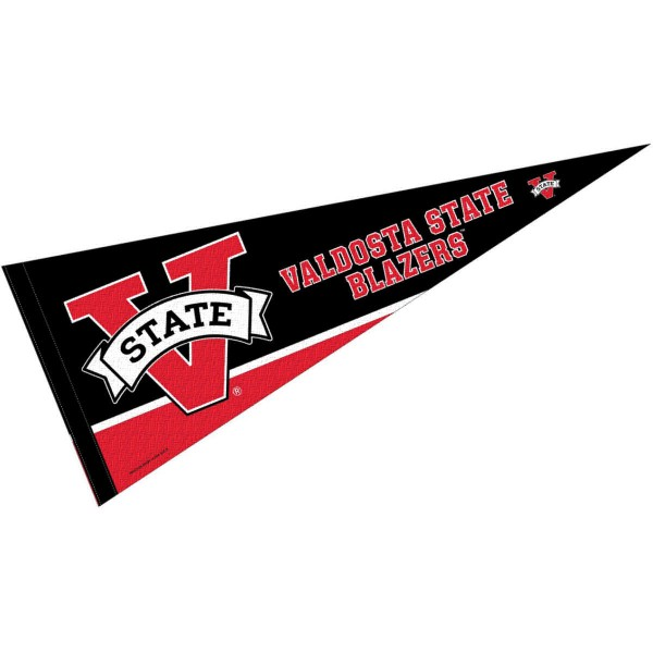 Valdosta State University Pennant consists of our full size sports pennant which measures 12x30 inches, is constructed of felt, is single sided imprinted, and offers a pennant sleeve for insertion of a pennant stick, if desired. This Valdosta State Blazers Pennant Decorations is Officially Licensed by the selected university and the NCAA.