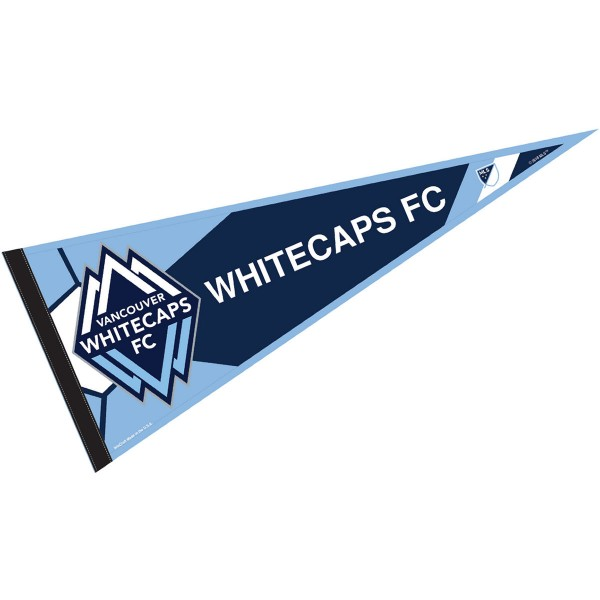 Vancouver Whitecaps FC Pennant is our Full Size MLS soccer team pennant which measures 12x30 inches, is made of felt, and is single sided screen printed. Our Vancouver Whitecaps FC Pennant is perfect for showing your MLS team allegiance in any room of the house and is MLS licensed.