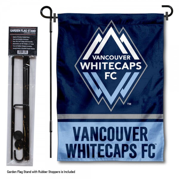 """Vancouver Whitecaps Garden Flag and Flagpole Stand kit includes our 12.5""""x18"""" garden banner which is made of 2 ply poly with liner and has screen printed licensed logos. Also, a 40""""x17"""" inch garden flag stand is included so your Vancouver Whitecaps Garden Flag and Flagpole Stand is ready to be displayed with no tools needed for setup. Fast Overnight Shipping is offered and the flag is Officially Licensed and Approved by the selected team."""