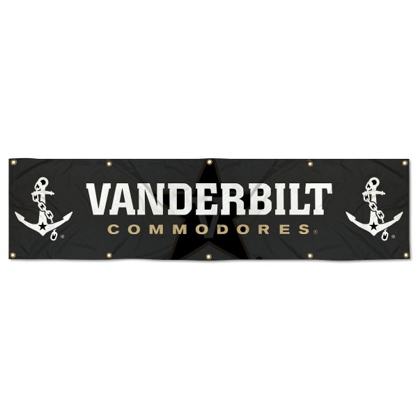 Vanderbilt Commodores 8 Foot Large Banner measures 2x8 feet and displays Vanderbilt Commodores logos. Our Vanderbilt Commodores 8 Foot Large Banner is made of thick polyester and ten grommets around the perimeter for hanging securely. These banners for Vanderbilt Commodores are officially licensed by the NCAA.