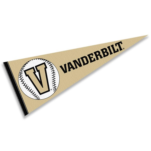 Vanderbilt Commodores Baseball Pennant consists of our full size sports pennant which measures 12x30 inches, is constructed of felt, is single sided imprinted, and offers a pennant sleeve for insertion of a pennant stick, if desired. This Vanderbilt Commodores Pennant Decorations is Officially Licensed by the selected university and the NCAA.