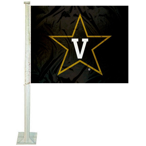 Vanderbilt Commodores Car Window Flag measures 12x15 inches, is constructed of sturdy 2 ply polyester, and has screen printed school logos which are readable and viewable correctly on both sides. Vanderbilt Commodores Car Window Flag is officially licensed by the NCAA and selected university.
