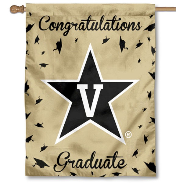 Vanderbilt Commodores Congratulations Graduate Flag measures 30x40 inches, is made of poly, has a top hanging sleeve, and offers dye sublimated Vanderbilt Commodores logos. This Decorative Vanderbilt Commodores Congratulations Graduate House Flag is officially licensed by the NCAA.