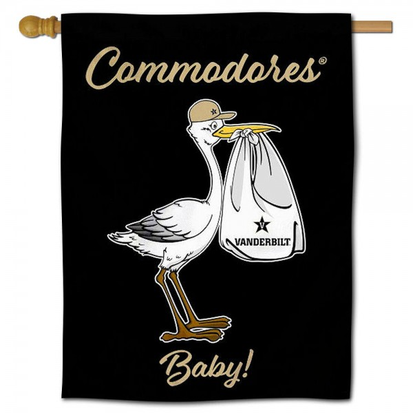 Vanderbilt Commodores New Baby Flag measures 30x40 inches, is made of poly, has a top hanging sleeve, and offers dye sublimated Vanderbilt Commodores logos. This Decorative Vanderbilt Commodores New Baby House Flag is officially licensed by the NCAA.