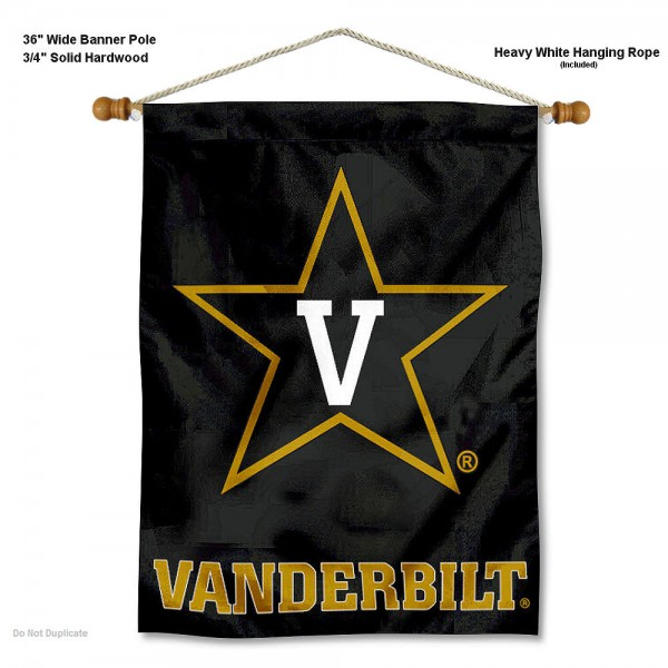 "Vanderbilt Commodores Wall Banner is constructed of polyester material, measures a large 30""x40"", offers screen printed athletic logos, and includes a sturdy 3/4"" diameter and 36"" wide banner pole and hanging cord. Our Vanderbilt Commodores Wall Banner is Officially Licensed by the selected college and NCAA."
