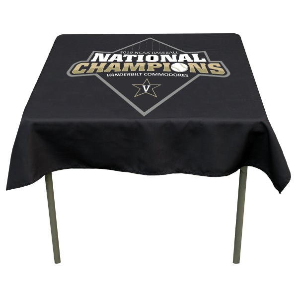 Vanderbilt University 2019 National Baseball Champions Tablecloth measures 48 x 48 inches, is made of 100% Polyester, seamless one-piece construction, and is perfect for any tailgating table, card table, or wedding table overlay. Each includes Officially Licensed Logos and Insignias.