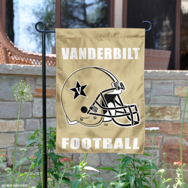 Vanderbilt University Football Helmet Garden Banner is 13x18 inches in size, is made of 2-layer polyester, screen printed Commodores athletic logos and lettering. Available with Same Day Express Shipping, Our Vanderbilt University Football Helmet Garden Banner is officially licensed and approved by Commodores and the NCAA.