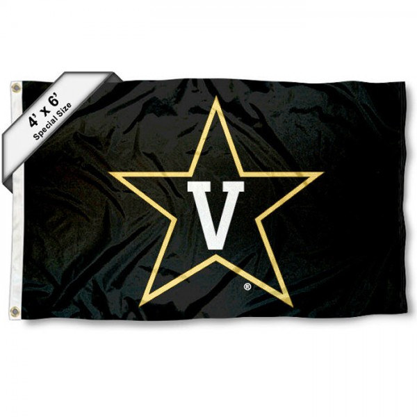 Vanderbilt University Large 4x6 Flag measures 4x6 feet, is made thick woven polyester, has quadruple stitched flyends, two metal grommets, and offers screen printed NCAA Vanderbilt University Large athletic logos and insignias. Our Vanderbilt University Large 4x6 Flag is officially licensed by Vanderbilt University and the NCAA.