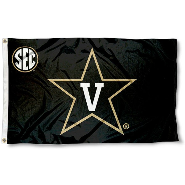 Vanderbilt University SEC Flag measures 3'x5', is made of 100% poly, has quadruple stitched sewing, two metal grommets, and has double sided Team University logos. Our Vanderbilt University SEC Flag is officially licensed by the selected university and the NCAA.