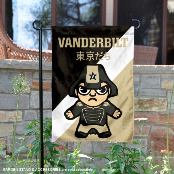 Vanderbilt University Tokyodachi Mascot Yard Flag is 13x18 inches in size, is made of double layer polyester, screen printed university athletic logos and lettering, and is readable and viewable correctly on both sides. Available same day shipping, our Vanderbilt University Tokyodachi Mascot Yard Flag is officially licensed and approved by the university and the NCAA.