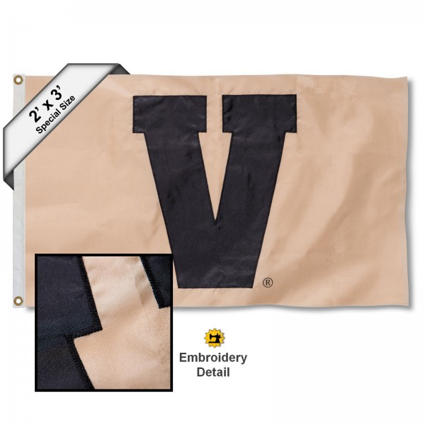 Vandy V Small 2'x3' Flag measures 2x3 feet, is made of 100% nylon, offers quadruple stitched flyends, has two brass grommets, and offers embroidered Vandy V logos, letters, and insignias. Our Vandy V Small 2'x3' Flag is Officially Licensed by the selected university.