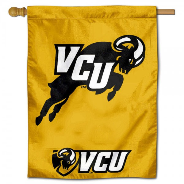 "VCU Rams jumping Ram Logo Banner Flag is constructed of polyester material, is a vertical house flag, measures 30""x40"", offers screen printed athletic insignias, and has a top pole sleeve to hang vertically. Our VCU Rams jumping Ram Logo Banner Flag is Officially Licensed by VCU Rams and NCAA."